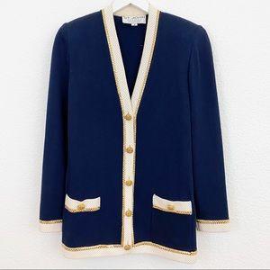 St. John Navy & White Blazer Jacket